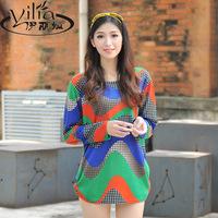2014 autumn plus size clothing cashmere basic shirt long-sleeve T-shirt long design loose top