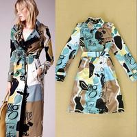 2014 fashion fashion elegant fashion double breasted doodle long-sleeve slim trench outerwear female