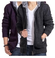 2014 men's autumn and winter clothing plus velvet male slim sweater thickening with a hood cardigan big sweater male thermal