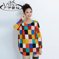 2014 autumn women's plus size all-match loose top women's female t-shirt long-sleeve prints basic sweaters