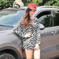 2014 fashion black and white stripe cashmere long-sleeve shirt basic medium-long plus size clothing