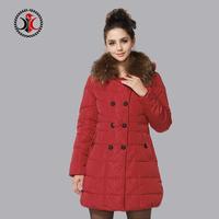 2014 winter solid color design luxury long slim raccoon fur down coat female