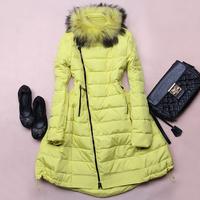 2014 fashion large fur collar poncho long design down outerwear female expansion bottom