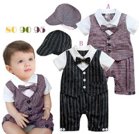 Baby boys clothes tuxedo romper and hat 2 piece suits striped & plaid pattern gentleman suit onesie black brown in stock