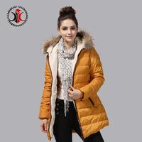 2014 medium-long with a hood fashionable casual slim fur collar down coat female