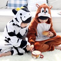 Flannel animal cow squirrel one piece sleepwear cartoon long-sleeve lounge autumn and winter plush child baby