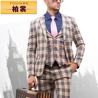 men's clothing slim suits set wedding business suit jacket +pant +vest  fashion plaid men's suit wedding dress marriage