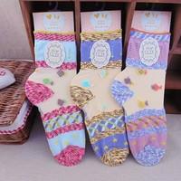 Vintage women's socks bohemia color block decoration crystal lace decoration glass transparent ultra-thin socks