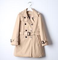 120 - 160 cm B** trench coat for girl 2014 brand windbreaker for girls high quality kids coat children's clothing 4 - 12 years