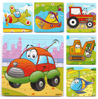 Infant wool jigsaw puzzle baby wooden traffic tools puzzle toy 1 - 3 years old