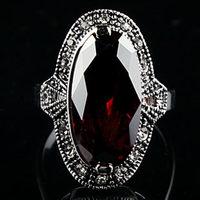 fashion Marcasite vintage thai silver ring mark  garnet ruby finger ring Women fashion accessories