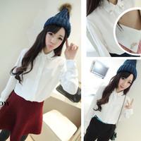 2014 Autumn Plus size all-match loose Women's excellent brick brief comfortable thick chiffon shirt women blouse