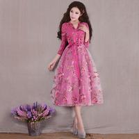 [LYNETTE'S CHINOISERIE - YHT ] Autumn Original Design Women Plus Size Slim Floral Print Elegant Organza Dress Sz S M L XL XXXL