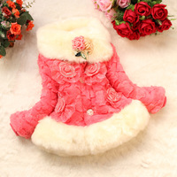 2014 children's clothing  child cotton-padded jacket winter outerwear cotton clothes short design girl faux