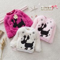 2014 children's clothing  child autumn and winter child plus velvet thickening onta basic shirt clothing