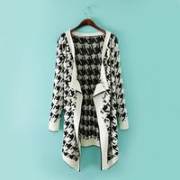 Free shipping 2014 women's new fall Wild plaid shirt Irregular cardigan sweater