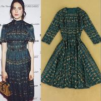 2014 fashion blue gold key print slim medium-long expansion bottom one-piece dress basic