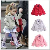 Children's clothing female child autumn outerwear 2014 woolen short design double breasted overcoat  woolen blazer Wholesale