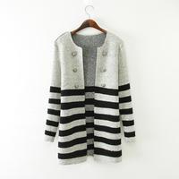 Free shipping 2014 Women's new Wild striped round neck Knitwear Sweater Jacket Tops