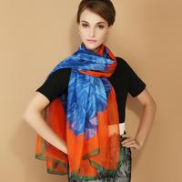 Elegant silk scarf faux silk scarf chiffon yarn silk scarf long design cape scarf autumn and winter female