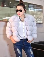 Book high quality white fox 2014 full leather short design female fur coat pink fur