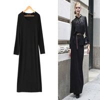 2014 spring fashion ladies one-piece dress autumn and winter long sleeve cotton full length dress female slim elegant basic