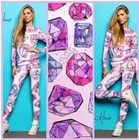 2014 Hot selling Fashion sweatshirt, personality 3d diamond print pattern pullover women hoody, plus size sport suit women