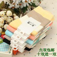Stripe socks 100% cotton socks candy color knee-high socks breathable fashion