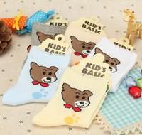 Cartoon bear mesh children socks combed cotton padded kid's socks summer kid's socks
