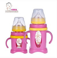 Baby Feeding/Milk/Nursing Bottle with handle wide caliber Prevent broken Glass bottle