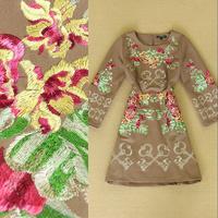 Fashion 2014 women's fashion vintage elegant flower gold thread embroidery long-sleeve dress plus size