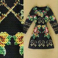 Fashion high quality elegant women's fashion flower key print plus size dress long-sleeve basic
