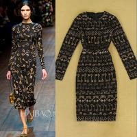 2014 autumn and winter women fashion gold key elegant long-sleeve medium-long one-piece dress