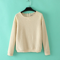 Free shipping 2014 women's new fall Round neck long-sleeved Lace stitching Pullover Shirt Sweater Tops