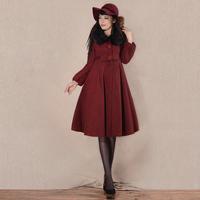 [LYNETTE'S CHINOISERIE - YHT ]Autumn Women Plus Size Elegant Loose Woolen Outerwear Overcoat W/h Fur Collar Sz S M L XL XXL XXXL