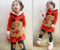 2014 girls clothing  autumn sports casual child  thickening sweatshirt set