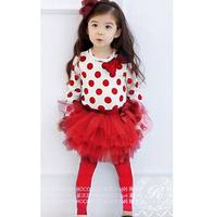 Female child 2014  autumn children's clothing  basic skirt pants twinset