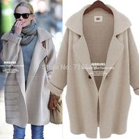 2014 winter coats big brand high quality Authentic fashion loose pure color knit women 's coat lapels