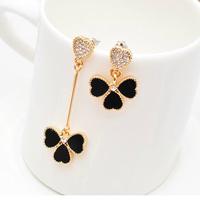 9.9 accessories elegant stud earring asymmetrical four leaf grass female earrings fashion