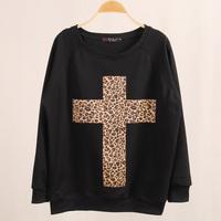 2014 New arrived European Woman sweatshirt, leopard print cross pullover batwing Hoodies , sport suit women Good quality