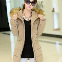 2014 plus size coat medium-long down female slim thickening large fur collar down coat female