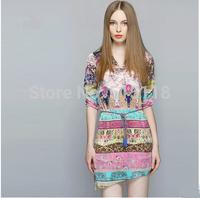 2014 New Summer Women's clothing High quality Fashion Casual dress Woman Chiffon dress Printed dress irregular