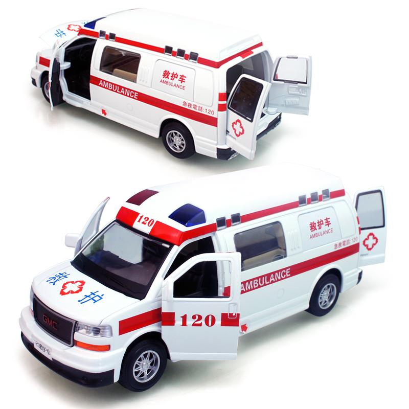 In gmc120 ambulance acoustooptical WARRIOR alloy car model child gift toy cars 1pic free shipping(China (Mainland))