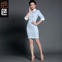 2014 autumn vintage elegant ol slim waist stand collar plaid print slim long-sleeve plus size clothing one-piece dress