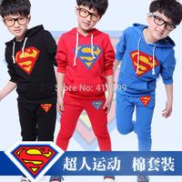 2014 New Children's Clothing Male Child Super Man Cartoon Set Male Children Sports Child Set Free Shipping