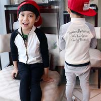 Spring Autumn New children's clothes set child cotton Casual Cross-pants+Zipper Sweatshirts twinset unisex letter sports suits