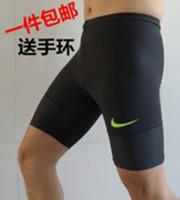 Pro sports shorts male blue football tight knee-length pants fitness pants high-elastic breathable Men's soccer training pants
