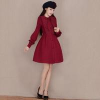 [LYNETTE'S CHINOISERIE - YHT ] Autumn Women Plus Size Sweet Elegant Slim Lace Patchwork Wine Red Woolen Coat S M L XL XXL XXXL
