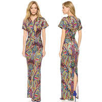 autumn women long dress Design crossply V-neck after vent tropical long dress