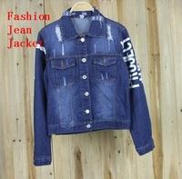2014 New Wholesale Autumn vintage bf letter denim top HARAJUKU short design loose long-sleeve denim outerwear female